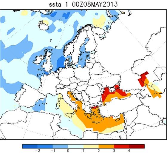 Het Noordzeewater is in mei 2013 kouder dan normaal
